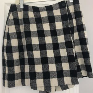 Black and white checked wool skirt